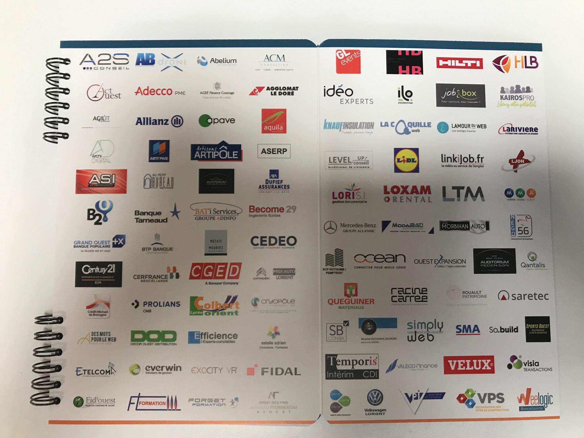 Les logos des partenaires membres du Club des Bâtisseurs - calepin